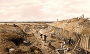Crimean (Russo-Turkish) War 1853-1856. French troops in the ditch of the Bastion du Mat after the fall of Sebastopol (Sevastopol).  Sebastopol was under siege from October 1854 to 11 September 1855 when it fell to the Allied forces and the Russians retreated.  Tinted lithograph after W Simpson for 'Illustration of the War in the East' (London, 1855-1856).