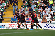Reading's Adam Le Fondre (9) celebrates with teammates after he scores the opening goal from a penalty during the Skybet championship match, Yeovil Town v Reading at Huish Park in Yeovil on Saturday 31st August 2013. <br /> Picture by Sophie Elbourn, Andrew Orchard sports photography,