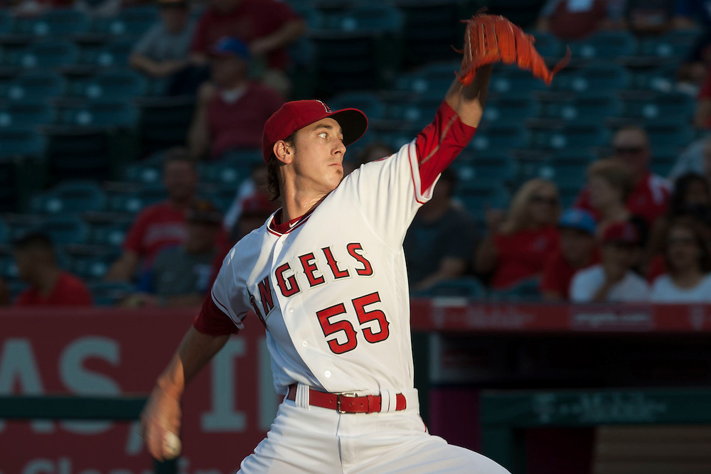 The Angels' Tim Lincecum pitches against the Texas Rangers at Angel Stadium on Tuesday.<br /> <br /> ///ADDITIONAL INFO:   <br /> <br /> angels.0720.kjs  ---  Photo by KEVIN SULLIVAN / Orange County Register  -- 7/19/16<br /> <br /> The Los Angeles Angels take on the Texas Rangers at Angel Stadium.