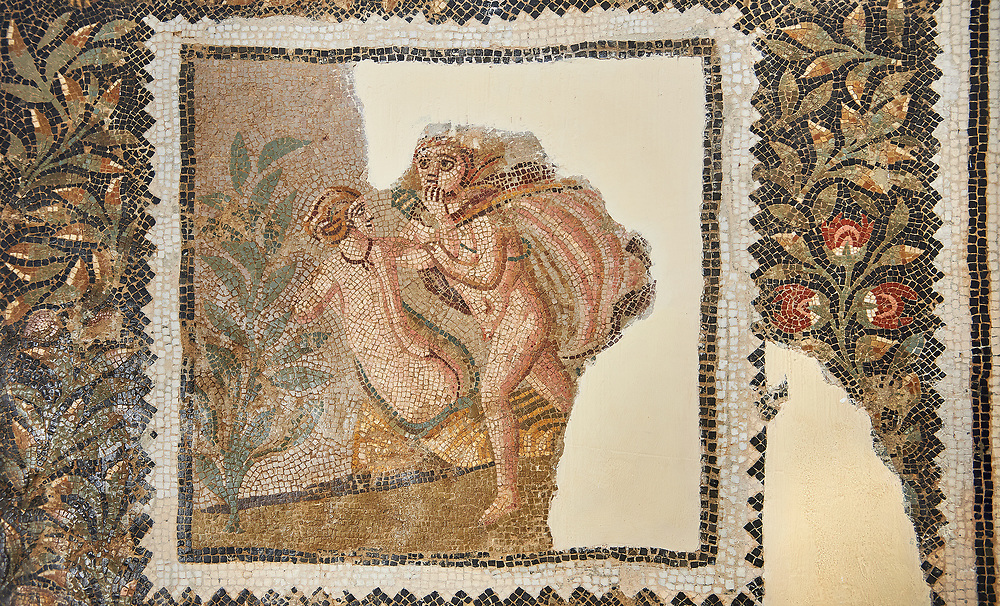 Picture of a Roman mosaics design depicting scenes from mythology, from the ancient Roman city of Thysdrus House in Jilani Guirat area. End of 2nd century AD. El Djem Archaeological Museum, El Djem, Tunisia.<br /> <br /> Detail from a mosaic which depicts Polyphene playing a lyre to charm Galate ; Dionysus drunk ; Alpheus attacking the nymph Arethusa .<br /> <br /> If you prefer to buy from our ALAMY PHOTO LIBRARY Collection visit : https://www.alamy.com/portfolio/paul-williams-funkystock/roman-mosaic.html . Type - El Djem - into the LOWER SEARCH WITHIN GALLERY box. Refine search by adding background colour, place, museum etc<br /> <br /> Visit our ROMAN MOSAIC PHOTO COLLECTIONS for more photos to download as wall art prints https://funkystock.photoshelter.com/gallery-collection/Roman-Mosaics-Art-Pictures-Images/C0000LcfNel7FpLI