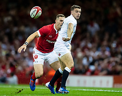 George Ford of England backhands the ball<br /> <br /> Photographer Simon King/Replay Images<br /> <br /> Friendly - Wales v England - Saturday 17th August 2019 - Principality Stadium - Cardiff<br /> <br /> World Copyright © Replay Images . All rights reserved. info@replayimages.co.uk - http://replayimages.co.uk