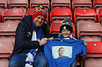 Football - 2018 / 2019 Premier League - Southampton vs. Cardiff City<br /> <br /> A young Cardiff fan holds goal keepers Neil Etheridge of Cardiff City warm up t-shirt with a picture in tribute to Emiliano Sala. Argentine-born Sala, 28, was travelling to Cardiff in a light aircraft piloted by David Ibbotson, which went missing over the English Channel on 21 January.<br /> <br /> COLORSPORT/SHAUN BOGGUST