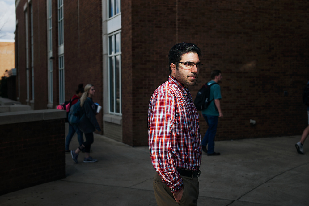 STARKVILLE, MS – FEBRUARY 1, 2017: Vahid Daghigh, a PhD engineering student, arrived in the US just eight months ago. He left his fiancé behind and says he has little hope of bringing her now. CREDIT: Bob Miller for The New York Times