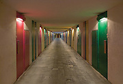 Internal corridor between the split-level apartments of the Unité d'habitation.built in 1963 by Le Corbusier. Briey-en-forêt, France, 2005