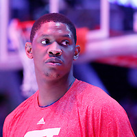 27 January 2015:  Washington Wizards center Kevin Seraphin (13) stands during the national anthem prior to the Washington Wizards 98-92 victory over the Los Angeles Lakers, at the Staples Center, Los Angeles, California, USA.