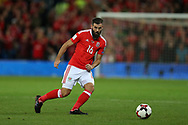 Joe Ledley of Wales in action. Wales v Rep of Ireland , FIFA World Cup qualifier , European group D match at the Cardiff city Stadium in Cardiff , South Wales on Monday 9th October 2017. pic by Andrew Orchard, Andrew Orchard sports photography