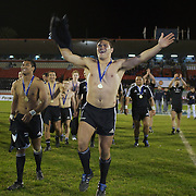 Angus Taavao-Matau, New Zealand, (front) celebrates with team mates  after the Australia V New Zealand Final match at the IRB Junior World Championships in Argentina. New Zealand won the match 62-17 at Estadio El Coloso del Parque, Rosario, Argentina,. 21st June 2010. Photo Tim Clayton...
