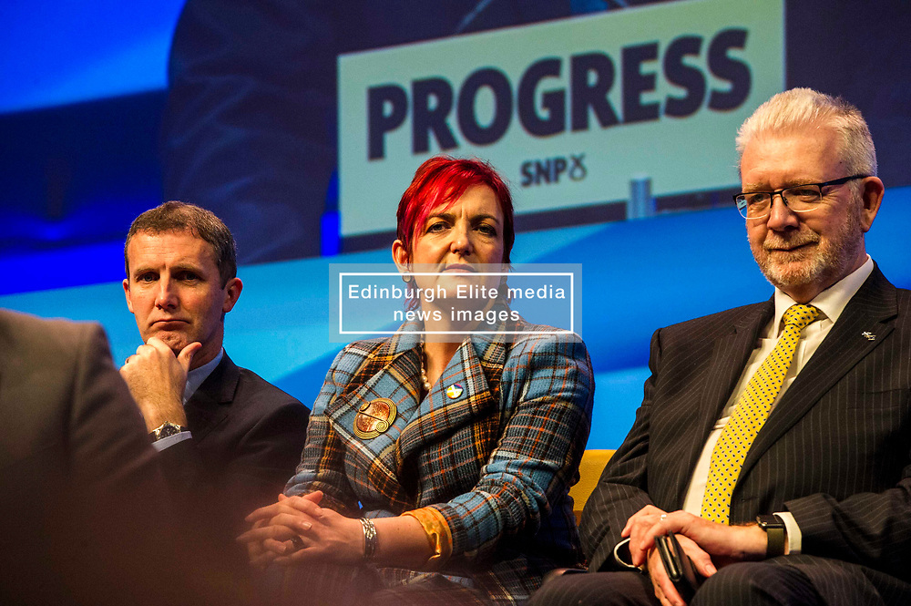 Pictured: Michael Matheson, Cabinet Secretary for Justice, Angela Constance, Cabinet Secretary for Communities, Social Security and Equalities, and Mike Russell, Scottish Brexit Minister <br /> The members of the SNP gathered in the Scottish Events Centre in Glasgow for their annual conference.<br /> <br /> Ger Harley | EEm 10 October 2017