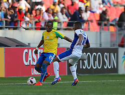 Siyanda Zwane of Mamelodi Sundowns (L) during the 1st leg of the MTN8 Semi Final between Chippa United and Mamelodi Sundowns held at the Nelson Mandela Bay Stadium in Port Elizabeth, South Africa on the 11th September 2016<br /><br />Photo by: Richard Huggard / Real Time Images