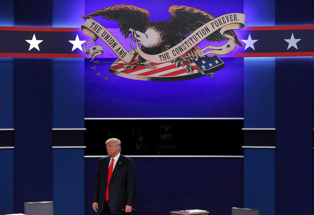 Republican U.S. presidential nominee Donald Trump is seen during his presidential town hall debate against Democratic U.S. presidential nominee Hillary Clinton (not shown) at Washington University in St. Louis, Missouri, U.S., October 9, 2016.   REUTERS/Jim Young