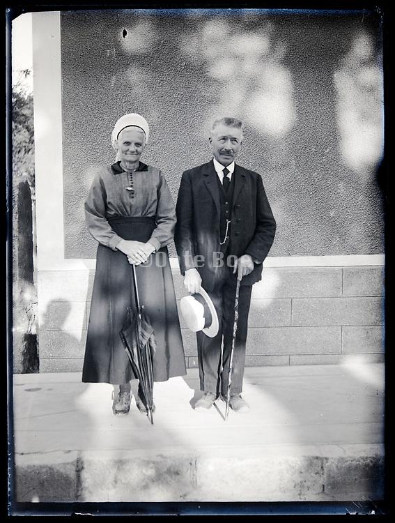 happy elderly couple posing circa 1930s France