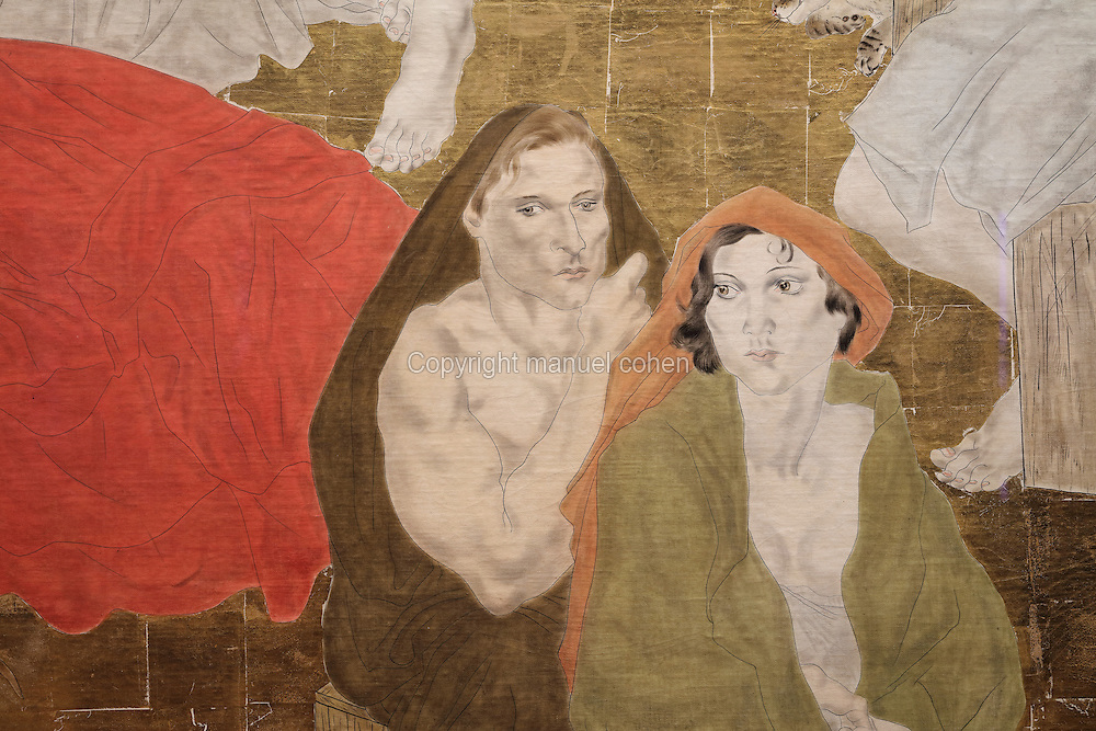 Detail of a fresco entitled 'The Arrival of Westerners in Japan', 1929, by Tsuguharu Foujita (Leonard Foujita or Fujita, 1886-1968), in the Maison du Japon, or Japan House, designed by Pierre Sardou and inaugurated in 1929, in the Cite Internationale Universitaire de Paris, in the 14th arrondissement of Paris, France. The CIUP or Cite U was founded in 1925 after the First World War by Andre Honnorat and Emile Deutsch de la Meurthe to create a place of cooperation and peace amongst students and researchers from around the world. It consists of 5,800 rooms in 40 residences, accepting another 12,000 student residents each year. Picture by Manuel Cohen. L'autorisation de reproduire cette oeuvre doit etre demandee aupres de l'ADAGP/Permission to reproduce this work of art must be obtained from DACS.