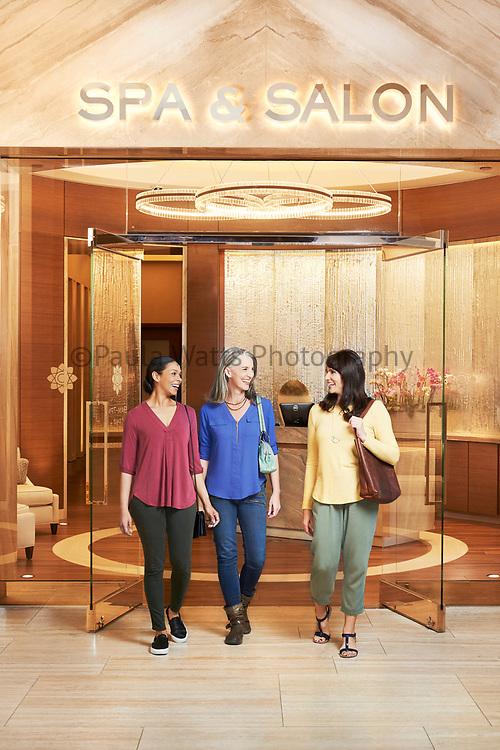 Female spa customers at casino resort in California