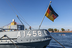 October 6, 2018 - Gdynia, Poland - German flag at the FGS FEHMARN A1458 the Helgoland class (Type 720) salvage tug, employed as safety ship for the German Navy submarine training group is seen in Gdynia, Poland, on 6 October 2018 German Navy ships incl. 212A class U31 submarine developed by Howaldtswerke-Deutsche Werft AG (HDW). The 212A and 212CD submarins are proposed to Polish Navy as a part of Orka programm. (Credit Image: © Michal Fludra/NurPhoto/ZUMA Press)