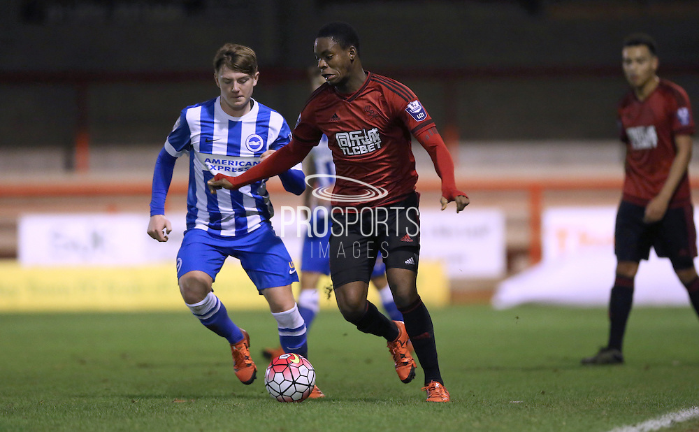 Jonathan Leko, West Bromwich Albion midfielder during the Barclays U21 Premier League match between Brighton U21 and U21 West Bromwich Albion at the Checkatrade.com Stadium, Crawley, England on 25 January 2016.
