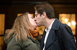 © Licensed to London News Pictures. 31/12/2019. London, UK. Rebecca Steinfeld and Charles Keidan kiss as they leave Kensington and Chelsea registry office in London following a mixed sex union ceremony. The couple took their fight to the Supreme Court to allow civil partnerships between heterosexual couples. Photo credit: Ben Cawthra/LNP
