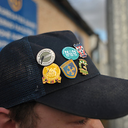 TELFORD COPYRIGHT MIKE SHERIDAN A young Guiseley fan with pin badges on cap during the Vanarama Conference North fixture between Guiseley and AFC Telford United at Nethermoor Park on Saturday, February 8, 2020.<br /> <br /> Picture credit: Mike Sheridan/Ultrapress<br /> <br /> MS201920-046