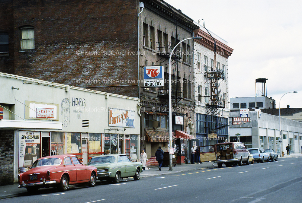 CS02498. NW Sixth at Couch. Buildings demolished in the Save-Mor bombing. May 1985