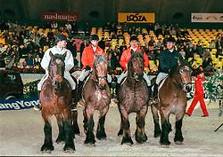 Boerenpaarden race, Hassmann Tony, Hendrickx Dominique, De Rooch Gilbert, Bost Roger Yves<br /> Jumping Mechelen 1998<br /> © Hippo Foto - Dirk Caremans<br /> 03/12/2020