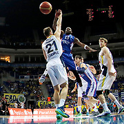 Anadolu Efes's Stephane Lasme (C) during their Turkish Basketball League match Fenerbahce Ulker between Anadolu Efes at the Ulker Sports Arena in Istanbul, Turkey, Sunday 26 April, 2015. Photo by Aykut AKICI/TURKPIX