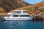 Island Packers boat at Scorpion Ranch, Santa Cruz Island, Channel Islands National Park, California USA