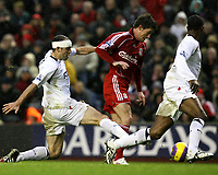 Photo: Paul Greenwood/Sportsbeat Images.<br />Liverpool v Bolton Wanderers. The FA Barclays Premiership. 02/12/2007.<br />Liverpool's Harry Kewell (C) goes on a mazy run through the Bolton defence
