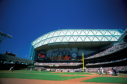Stock photo of Houston Astros baseball game at Minute Maid Park when still known as Enron Field
