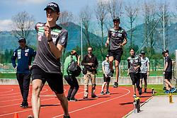 Peter Prevc, Timi Zajc and Anze Semenic of national ski jumping team during training of Slovenian Ski Jumping team, on April 25th, 2019 in Sports Park Kranj, Kranj, Slovenia. Photo by Grega Valancic / Sportida
