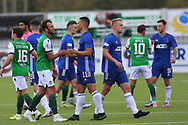 Christian Doidge (9) of Hibernianand Cove Rangers Leighton McIntosh (11) shake hands after the Betfred Scottish League Cup match between Cove Rangers and Hibernian at Balmoral Stadium, Aberdeen, Scotland on 10 October 2020.