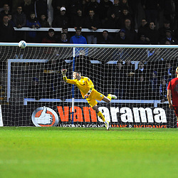 TELFORD COPYRIGHT MIKE SHERIDAN 12/1/2019 - Andy Wycherley of AFC Telford watches an effort come off the bar with the score at 0-1 during the Vanarama Conference North fixture between AFC Telford United and Hartlepool United at the Super Six Stadium.