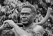 Local man attending traditional native ceremony at tribal gathering in Fiji, South Pacific