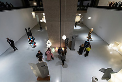 © Licensed to London News Pictures. 29/09/2021. LONDON, UK. A general view of the lower gallery. Preview at the Barbican Art Gallery of the first major UK exhibition of Japanese American sculptor Isamu Noguchi in over 20 years.  Noguchi worked across architecture, theatre set designs, playground models, lighting and furniture in a variety of materials and is regarded as one of the most experimental and important artists of the 20th century.  The exhibition runs 30 September to 9 January 2022.  Photo credit: Stephen Chung/LNP