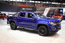 11 February 2016: Chevy Colorado Z71 4 door off road.<br /> <br /> First staged in 1901, the Chicago Auto Show is the largest auto show in North America and has been held more times than any other auto exposition on the continent.  It has been  presented by the Chicago Automobile Trade Association (CATA) since 1935.  It is held at McCormick Place, Chicago Illinois<br /> #CAS16