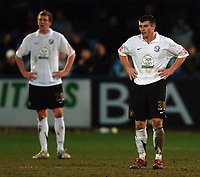 Photo: Paul Greenwood.<br />Macclesfield Town v Hereford United. Coca Cola League 2. 20/01/2007. Hereford team mates Dean Beckwith, left, and Andy Williams at the final whistle