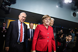 """German Chancellor Angela Merkel (R, front), Angel Gurria (1st L), Secretary General of the Organization for Economic Cooperation and Development and other leaders of international economic organizations attend a joint press conference in Berlin, Germany, on April 5, 2016. Leaders of several international economic organizations called on governments to take """"decisive action"""" to strengthen reforms and boost growth at a meeting hosted by German Chancellor Angela Merkel in Berlin on Tuesday. EXPA Pictures © 2016, PhotoCredit: EXPA/ Photoshot/ Zhang Fan<br /> <br /> *****ATTENTION - for AUT, SLO, CRO, SRB, BIH, MAZ, SUI only*****"""