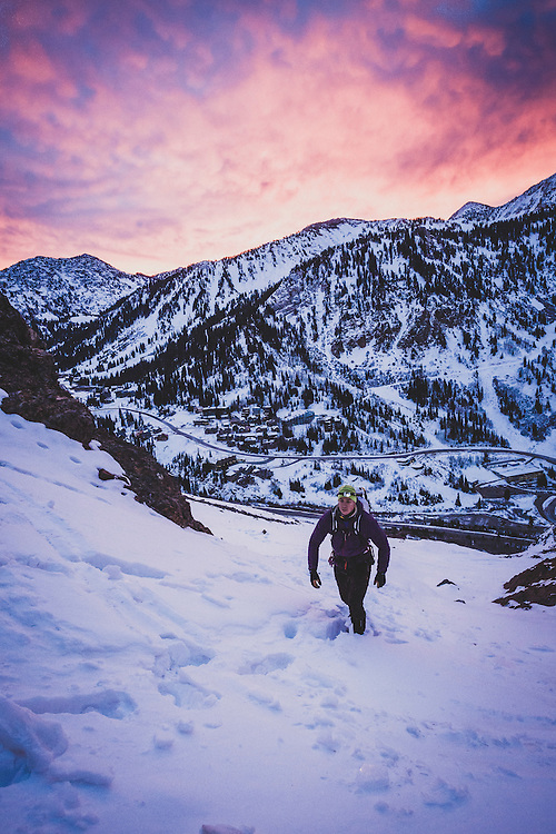 Nathan Smith makes a predawn approach to climb the south face of Mount Superior, WI-3, II, Alta, Utah.