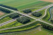 Nederland, Flevoland, Gemeente Zeewolde, 27-08-2013; Vogelweg, kruising met A27 (naar knooppunt Almere). Beplanting weg ontworpen door landschapsarchitect bij de inrichting van de polder, dubbele rijen populieren.<br /> Vogelweg in the newe polder Flevoland. Planting designed by landscape architect for the design of the polder, double rows of poplars.<br /> aerial photo (additional fee required);<br /> copyright foto/photo Siebe Swart.