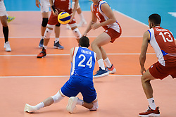 September 12, 2018 - Varna, Bulgaria - Cabrera Rivera Arnel, Puerto Rico play the ball during Iran vs Puerto Rico, pool D, during 2018 FIVB Volleyball Men's World Championship Italy-Bulgaria 2018, Varna, Bulgaria on September 12, 2018  (Credit Image: © Hristo Rusev/NurPhoto/ZUMA Press)