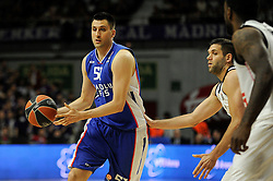 15.04.2015, Palacio de los Deportes stadium, Madrid, ESP, Euroleague Basketball, Real Madrid vs Anadolu Efes Istanbul, Playoffs, im Bild Real Madrid´s Felipe Reyes and Anadolu Efes´s Milko Bjelica // during the Turkish Airlines Euroleague Basketball 1st final match between Real Madrid vand Anadolu Efes Istanbul t the Palacio de los Deportes stadium in Madrid, Spain on 2015/04/15. EXPA Pictures © 2015, PhotoCredit: EXPA/ Alterphotos/ Luis Fernandez<br /> <br /> *****ATTENTION - OUT of ESP, SUI*****