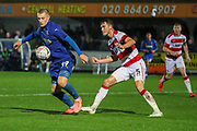 AFC Wimbledon striker Joe Pigott (39) dribbling and controlling the ball during the The FA Cup match between AFC Wimbledon and Doncaster Rovers at the Cherry Red Records Stadium, Kingston, England on 9 November 2019.