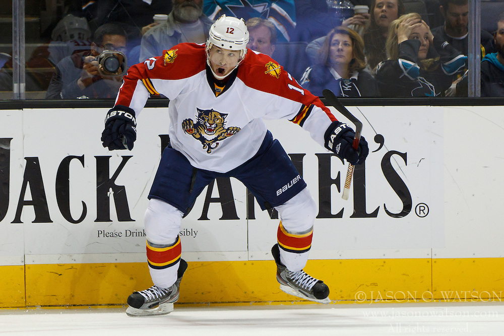 Dec 3, 2011; San Jose, CA, USA; Florida Panthers right wing Jack Skille (12) celebrates after scoring a goal against the San Jose Sharks during the second period at HP Pavilion.  Mandatory Credit: Jason O. Watson-US PRESSWIRE
