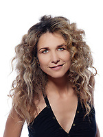 beautiful caucasian woman smile portrait isolated studio on white background