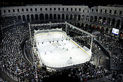 14.09.2012, Amphitheater, Pula, CRO, EBEL, Ice Fever, KHL Medvescak Zagreb vs HDD Olimpija Ljubljana, 03. Runde, im Bild Uebersicht der Esiflaeche mit dem Amphitheater Pula // during the Erste Bank Icehockey League 03rd Round match betweeen KHL Medvescak Zagreb and HDD Olimpija Ljubljana at the Amphitheater, Pula, Croatia on 2012/09/14. EXPA Pictures © 2012, PhotoCredit: EXPA/ Pixsell/ Dusko Marusic ***** ATTENTION - OUT OF CRO, SRB, MAZ, BIH and POL *****