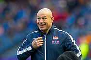 Edinburgh Rugby head coach, Richard Cockerill is all smiles as he watches his players during the warm up before the 1872 Cup second leg Guinness Pro14 2019_20 match between Edinburgh Rugby and Glasgow Warriors at BT Murrayfield Stadium, Edinburgh, Scotland on 28 December 2019.