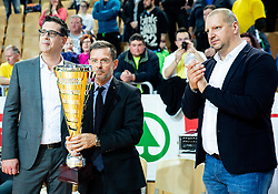 Ales Brzan, mayor of Koper, Igor Mervic, CEO of Spar Slovenija and Matej Erjavec, president of KZS at trophy ceremony after winning during basketball match between KK Sixt Primorska and KK Hopsi Polzela in final of Spar Cup 2018/19, on February 17, 2019 in Arena Bonifika, Koper / Capodistria, Slovenia. KK Sixt Primorska became Slovenian Cup Champion 2019. Photo by Vid Ponikvar / Sportida