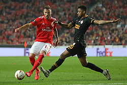 February 21, 2019 - Lisbon, Portugal - Haris Seferovi? of SL Benfica (L) vies for the ball with Marcão (Marcos do Nascimento Teixeira) of Galatasaray AS (R) during the Europa League 2018/2019 footballl match between SL Benfica vs Galatasaray AS. (Credit Image: © David Martins/SOPA Images via ZUMA Wire)