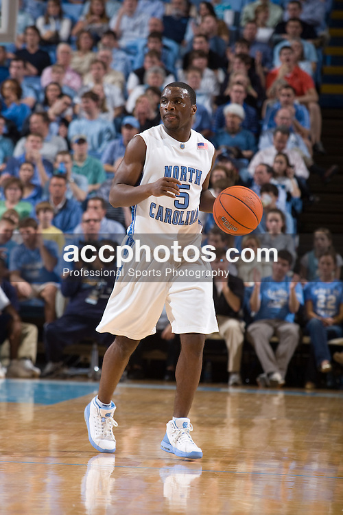 09 January 2008: North Carolina Tar Heels guard Ty Lawson (5) during a 93-81 win over the North Carolina Asheville Bulldogs at the Dean Smith Center in Chapel Hill, NC.