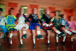08 November 2014. New Orleans, Louisiana. <br />  2014 International Irish Famine Commemoration, Gallier Hall. <br /> Muggivan Irish dancers perform at the event.<br /> Photo; Charlie Varley/varleypix.com