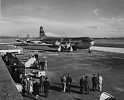 """ackroyd-01319-03 """"First National Bank. Pan-American Airways, Chamber of Commerce. Portland Columbia Airport. March 2, 1949"""" A new Boing 377 Stratocruiser is delivered to Pan American Airways at the new Portland Airport. ."""