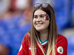 BIRKENHEAD, ENGLAND - Sunday, August 29, 2021: A Liverpool supporter during the FA Women's Championship game between Liverpool FC Women and London City Lionesses FC at Prenton Park. London City won 1-0. (Pic by Paul Currie/Propaganda)